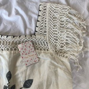 SALE NWT Free People Embroidery Linen Fringe Dress